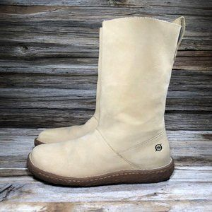 Born W8807 Tan Leather Pull On Mid Boots Women 7